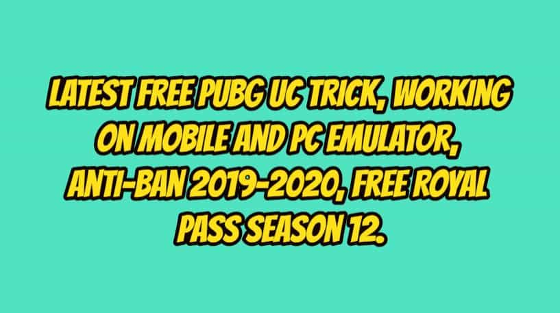Latest Free PUBG UC Trick, Working on Mobile and PC, Anti-Ban 2019-2020. 1