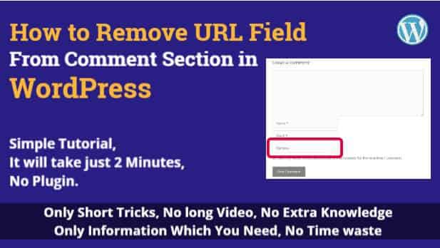 How to Remove URL Field From Comment Section in WordPress, Just 2 Min. No Plug-In.